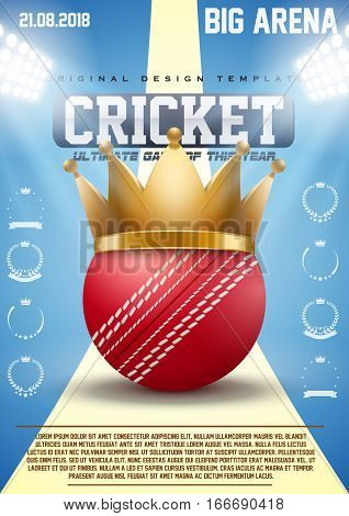 Poster Template of Cricket sports with Red Ball and Gold Crown. Cup and Tournament Advertising. Sport Event Announcement. Vector Illustration.