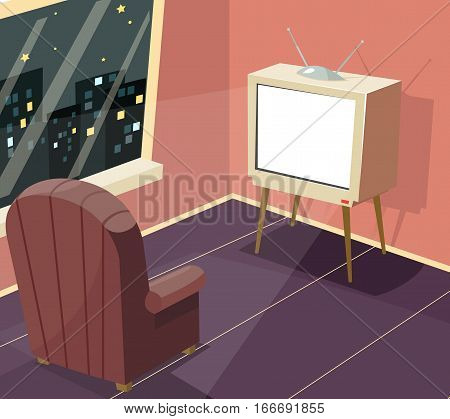 Armchair front of TV Icon on Room Window Night City Background Cartoon Design Vector Illustration