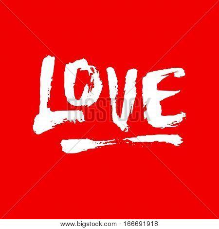 Love brushpen lettering, handwritten calligraphy with film grain, noise, dotwork, grunge texture for logo, banners, badges, labels, postcards, prints, web. Vector illustration