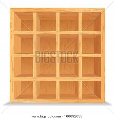 Empty Wooden Shelves Isolated on White Wall. Wood Shelf Vector Background