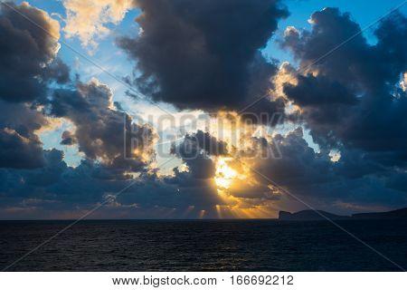 a dramatic sky over Capo Caccia Sardinia