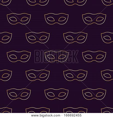 Mardi Gras Carnival seamless pattern with masks. Mardi Gras endless background texture wrapper. Vector illustration.