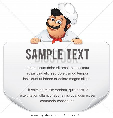 Funny Cartoon Male Chef Cook holding Blank Menu Template. Vector Character isolated on a white Background