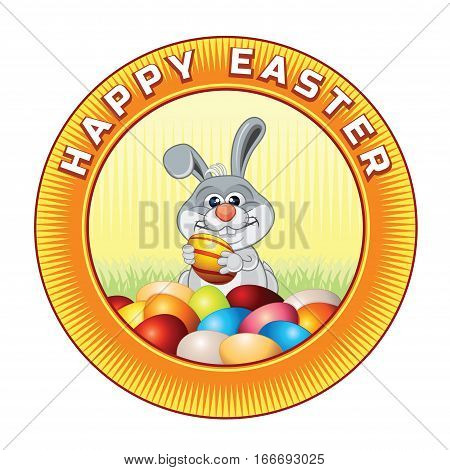 Happy Easter Badge with Bunny. Cartoon Image