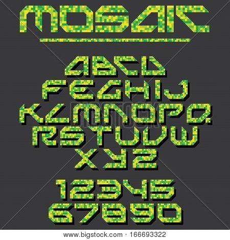 Pixel Mosaic Font. Vector Set for design
