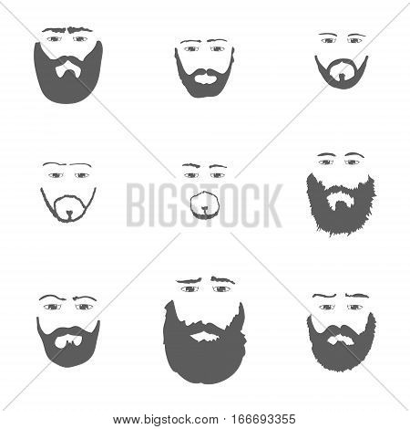Set of Beard isoated on white background Vector illustration