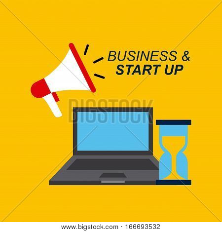 laptop computer, megaphone and sandclock icons over yellow background. business and start up concept. colorful design. vector illustration