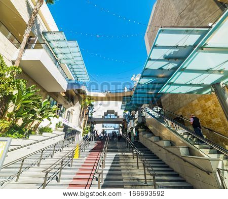 LOS ANGELES CALIFORNIA - NOVEMBER 2 2016: Stairway in Hollywood & Highland mall