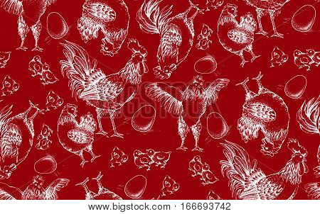 Vector seamless pattern. Illustration of white outlines on red background. Rooster, hens, brood, chicken and egg trace of hand drawing illustration.