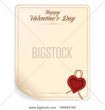 Valentines Day Letter with Wax Seal. Vector Background