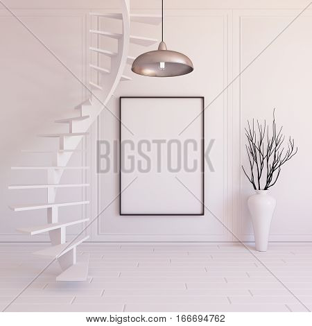 Interior mockup illustration with spiral staircase 3d render white wall with blank board