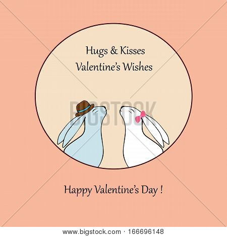 Vector hearts. Love-Happy Valentines day card with cute rabbit-stock vector. Vector hearts.