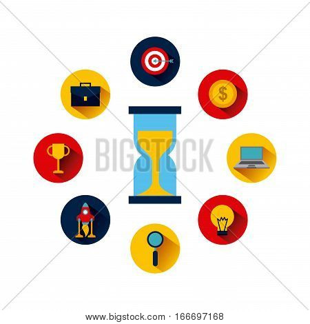 icons of business and start up concept around sandclock icon over white background. colorful design. vector illustration