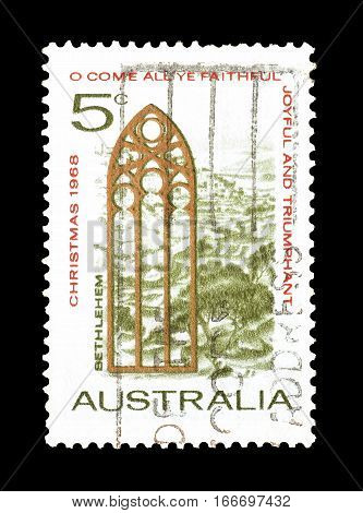 AUSTRALIA - CIRCA 1968 : Cancelled postage stamp printed by Australia, that shows Christmas.
