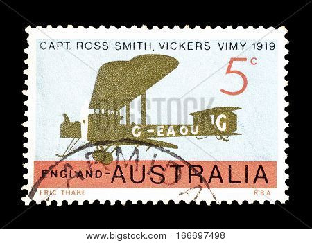 AUSTRALIA - CIRCA 1969 : Cancelled postage stamp printed by Australia, that shows Old airplane.