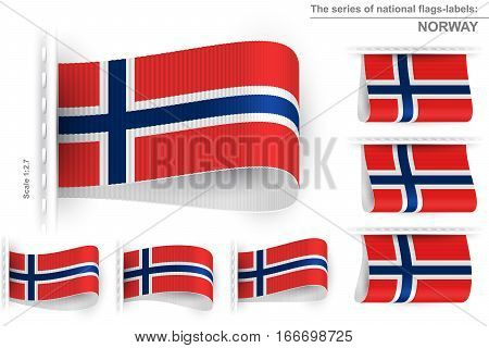 National state flag of Norway; Sewn clothing label tag from flag of Kingdom of Norway; Symbol of the national patriotic pride and political power; Vector set icon Eps10;
