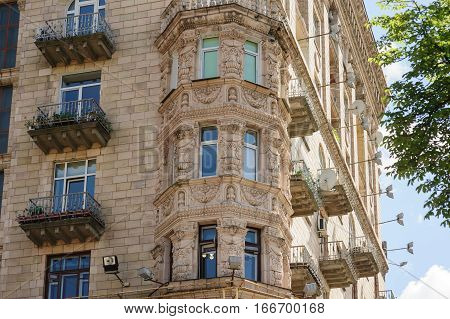 multi-storey old building with windows architecture background