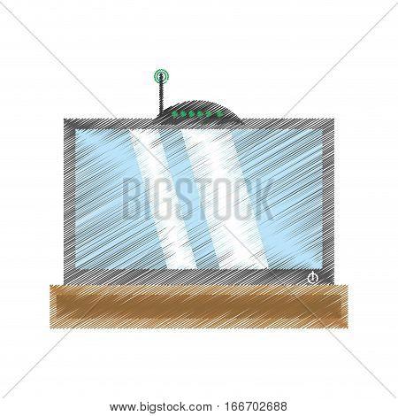drawing tv modem antenna signal vector illustration eps 10