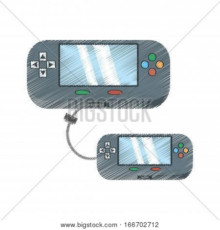 drawing two video gamepad portable technology connection vector illustration eps 10