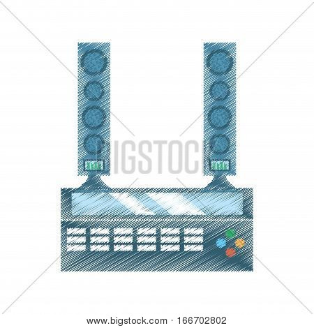 drawing home theater sound movie tv vector illustration eps 10