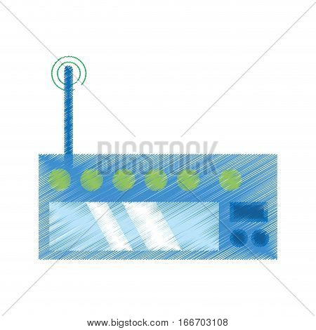 drawing router internet connection modem vector illustration eps 10