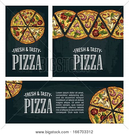 Set posters with slice pizza Pepperoni Hawaiian Margherita Mexican Seafood Capricciosa. Vintage vector colorful engraving illustration. For menu box. Isolated on dark background