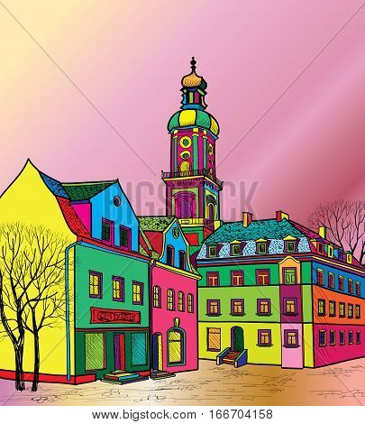 Funky journey. Predistant street in euoropean city. Colorful panorama city background in 1960s pop art style.