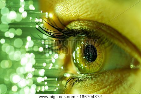 Close up of woman eye in process of scanning