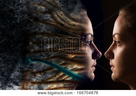 Virtual woman vs real woman as metaphor for technology,cyborg,digital,virtual,matrix,avatar,model,science,love,relation or future