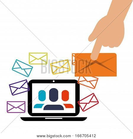 laptop receiving message group person vector illustration eps 10
