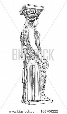 Caryatides famous statue. Pantheon column Athens Greece. Hand drawn greek landmark sketch isolated engraved illustration. poster
