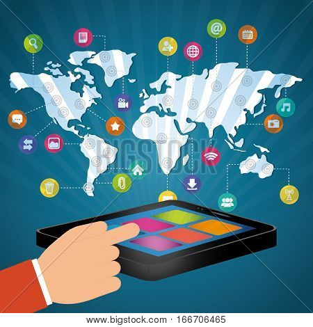 hand touch smartphone world communication connection social media vector illustration
