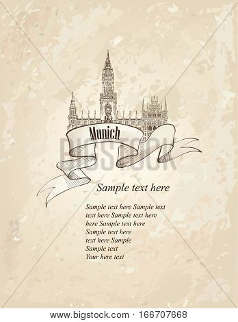 German landmark symbol. Travel Munich old-fashioned hand drawn engraved sketch. Famous place in germany. retro background.