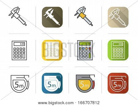 Engineering icons set. Flat design, linear and color styles. Caliper, calculator, measuring tape symbol. Isolated vector illustrations
