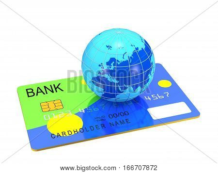 Credit card and globe on white background (3d illustration)