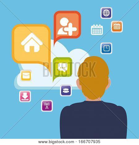 man cloud apps cloud social media vector illustration