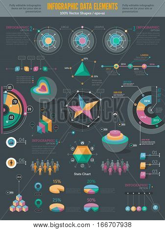 Infographics data elements. Graphs and charts set. Statistic and data information infographic vector illustration.