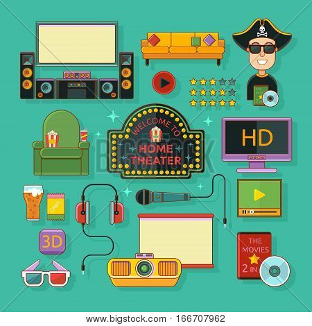 Home theatre and karaoke icons set vector illustration. Concept Home theatre.