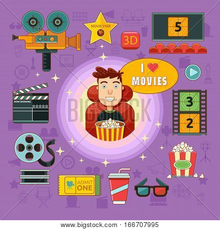 Cinema icons set with spectator camera cinema hall popcorn isolated vector illustration. Concept cinema art.