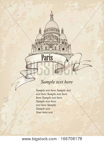 Montmartre symbol. Travel Paris icon. Hand drawn sketch.