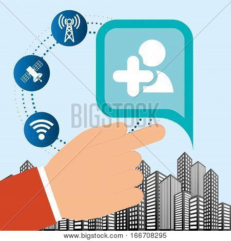 hand connection social media network internet city vector illustration