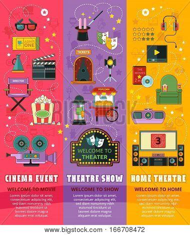 Cinema theatre home theatre icon set. Vector illustration.