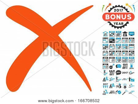 Erase icon with bonus 2017 new year pictograms. Vector illustration style is flat iconic symbols, modern colors.