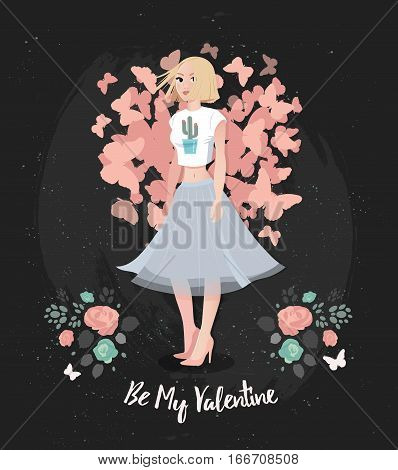 Hand Drawing fashion woman in spring mood. Happy Valentines Day Illustration of beautiful blonde girl in a flared skirt with spring flowers.