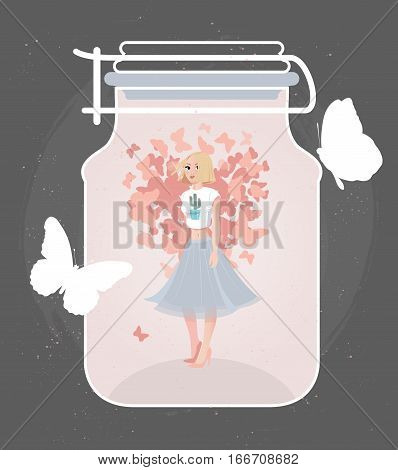 Hand Drawing fashion woman in spring mood. Creative Happy Valentines Day illustration of beautiful blonde girl in a flared skirt in a bottle.