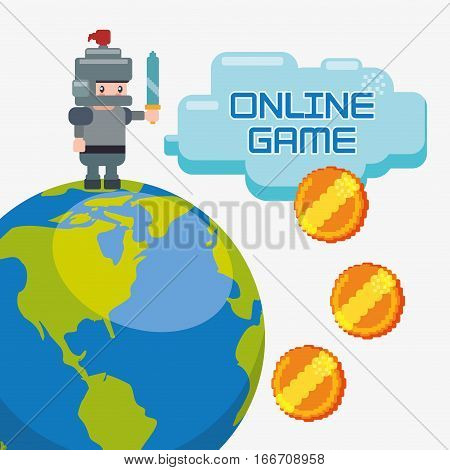 online game charatcer world coins golden vector illustration eps 10
