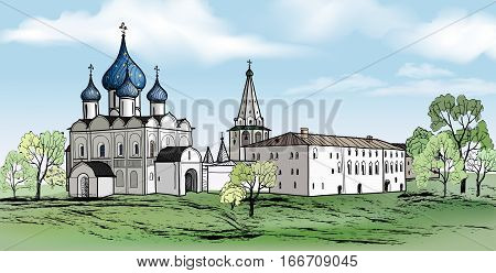 Old russian town landmark landscape with famous  church. f Suzdal city Kremlin. View of Suzdal cityscape. Travel Russia background