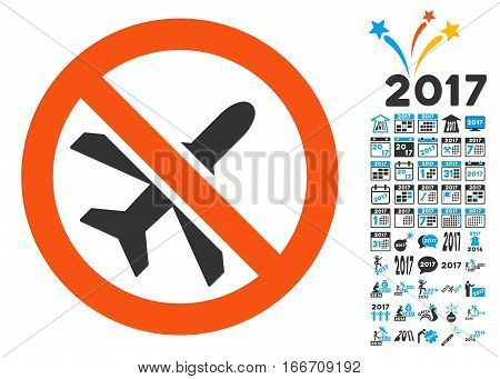 Forbidden Ariplanes icon with bonus 2017 new year design elements. Vector illustration style is flat iconic symbols, modern colors.