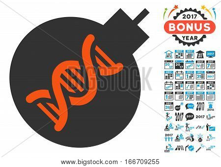 Genetic Weapon pictograph with bonus 2017 new year images. Vector illustration style is flat iconic symbols, modern colors.