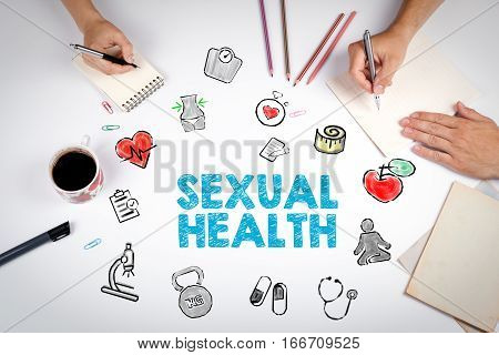 Sexual Health concept. Healty lifestyle background. The meeting at the white office table.